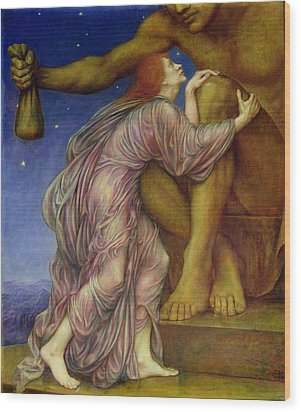 The Worship Of Mammon Wood Print by Evelyn De Morgan