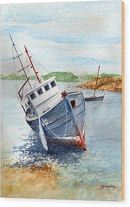 The Wreck Wood Print by Christian Simonian