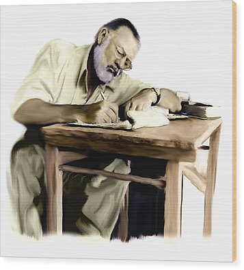 The Writer  Ernest Hemingway Wood Print by Iconic Images Art Gallery David Pucciarelli