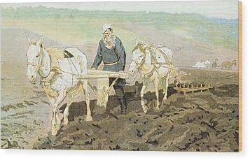 The Writer Lev Nikolaevich Tolstoy Wood Print by Ilya Efimovich Repin