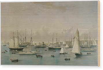 The Yacht Squadron At Newport Wood Print by Nathaniel Currier and James Merritt Ives