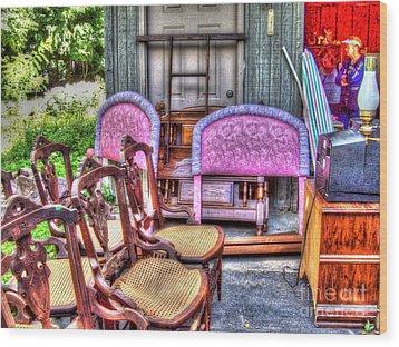 The Yard Sale Wood Print by MJ Olsen