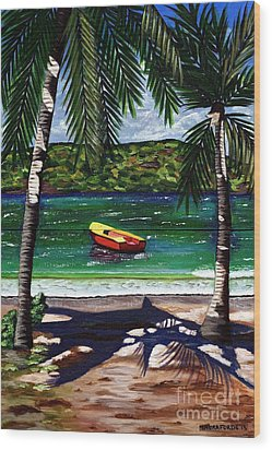 Wood Print featuring the painting The Yellow And Red Boat by Laura Forde