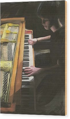 The Young Pianist Wood Print by Michael Malicoat