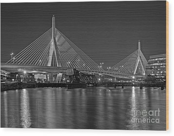 The Zakim Bridge Bw Wood Print by Susan Candelario