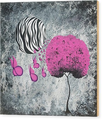 Wood Print featuring the painting The Zebra Effect 1 by Oddball Art Co by Lizzy Love