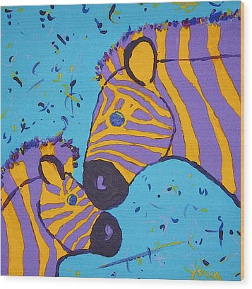 The Zebra Nuzzle Wood Print by Yshua The Painter