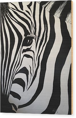Wood Print featuring the painting The Zebra With One Eye by Alan Lakin