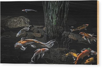 Wood Print featuring the photograph The Zen Of Koi by Glenn DiPaola