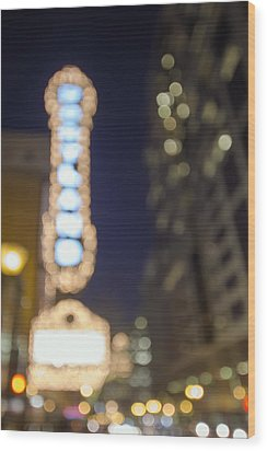 Theater Marquee Lights On Broadway Bokeh Background Wood Print by JPLDesigns
