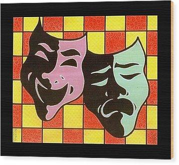 Theatre Masks Wood Print by Jim Harris