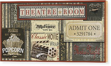 Theatre Room Wood Print by Jean Plout