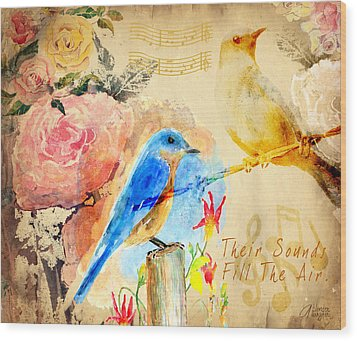 Wood Print featuring the mixed media Their Sounds Fill The Air by Arline Wagner
