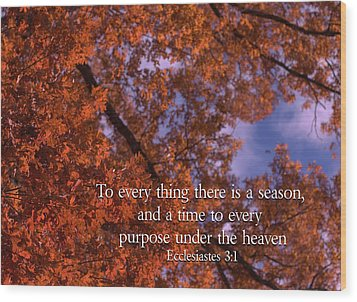 There Is A Season Ecclesiastes Wood Print