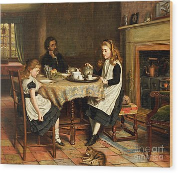 There Is No Fireside... Wood Print by George Goodwin Kilburne