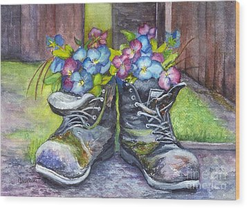 These Boots Were Made For Planting Wood Print by Carol Wisniewski