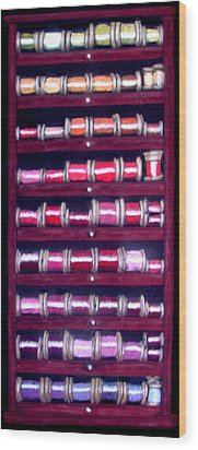 Thimbles In Cabinet Wood Print by Joseph Hawkins