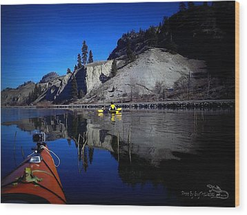 Thin Ice Kayaking Skaha Lake Wood Print by Guy Hoffman