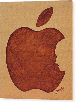 Think Different Steve Jobs 3 Wood Print by Georgeta  Blanaru