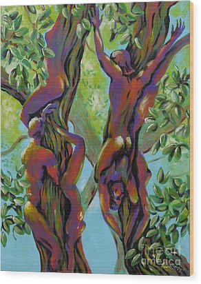 Wood Print featuring the painting Think Like A Tree by Robert D McBain