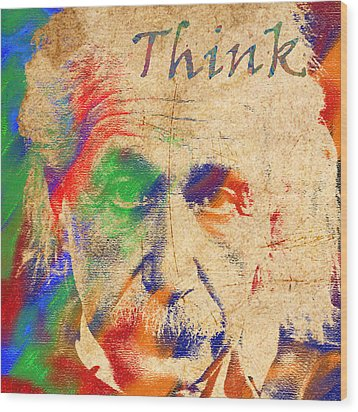 Think Wood Print by Soumya Bouchachi