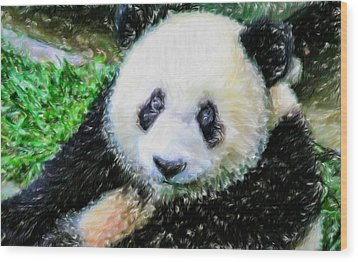 Wood Print featuring the painting Thinking Of David Panda by Lanjee Chee