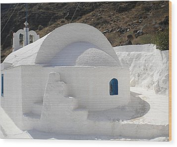 Wood Print featuring the photograph Thirasia Church Santorini Greece by Colette V Hera  Guggenheim