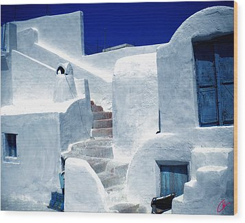 Thirasia Island Ancient House Near Santorini Greece Wood Print
