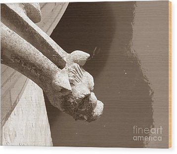 Wood Print featuring the photograph Thirsty Gargoyle - Sepia by HEVi FineArt