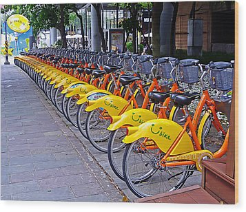 Thirty Yellow Bicycles In Taipei Wood Print by Tony Crehan