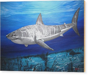 This Is A Shark Wood Print by Kevin F Heuman