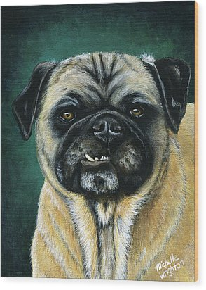 This Is My Happy Face - Pug Dog Painting Wood Print