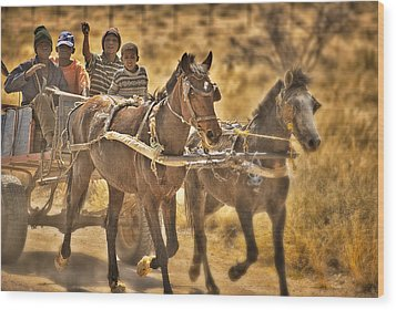 This Is Namibia No. 23 - Going To Town The Old Fashioned Way Wood Print by Paul W Sharpe Aka Wizard of Wonders