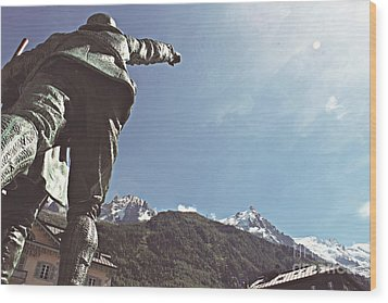 Wood Print featuring the photograph This Way To The Aiguille Du Midi by Cendrine Marrouat