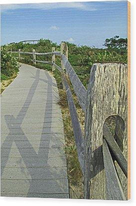 This Way To The Beach Wood Print by Barbara McDevitt