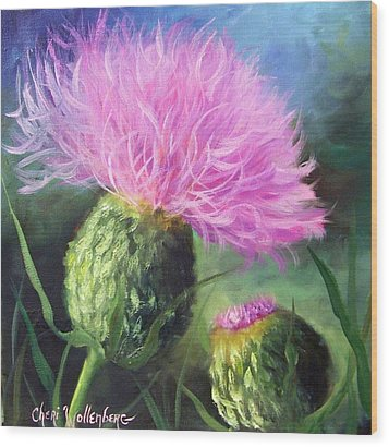 Wood Print featuring the painting Thistle by Cheri Wollenberg