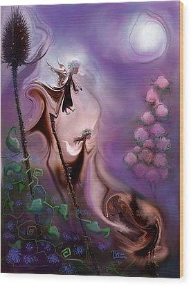 Thistle Fairies By Moonlight Wood Print by Terry Webb Harshman