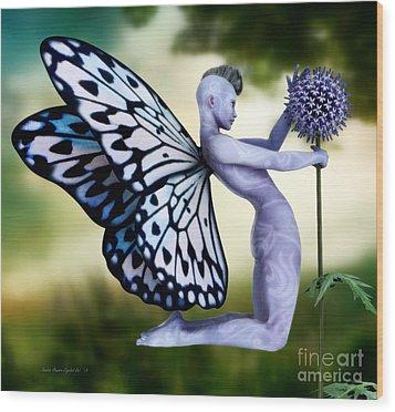 Wood Print featuring the digital art Thistle Fairy by Sandra Bauser Digital Art