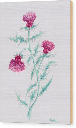 Wood Print featuring the painting Thistle by Rebecca Davis