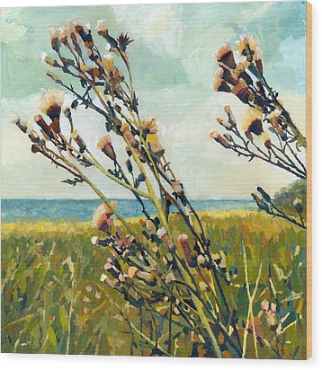 Thistles On The Beach - Oil Wood Print by Michelle Calkins