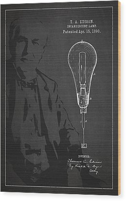 Thomas Edison Incandescent Lamp Patent Drawing From 1890 Wood Print by Aged Pixel