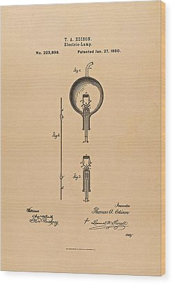 Thomas Edison Patent Application For The Light Bulb Wood Print by Movie Poster Prints