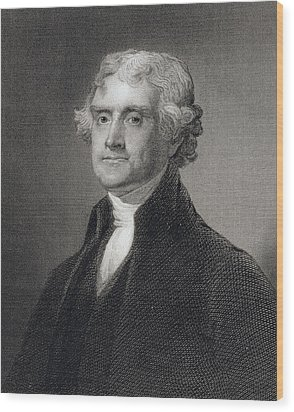 Thomas Jefferson Wood Print by Gilbert Stuart