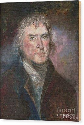 Thomas Jefferson Wood Print by Irene Pomirchy