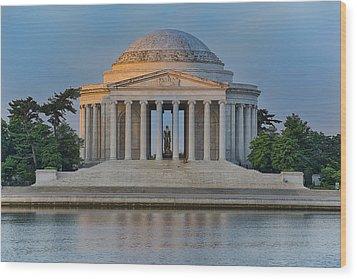Wood Print featuring the photograph Thomas Jefferson Memorial At Sunrise by Sebastian Musial