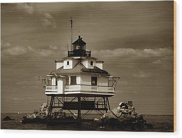 Thomas Point Shoal Lighthouse Sepia Wood Print by Skip Willits