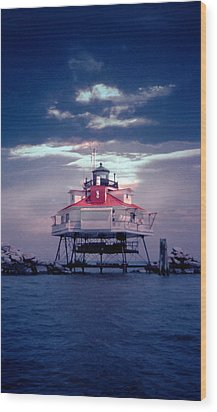 Thomas Point Shoal Lighthouse Wood Print by Skip Willits