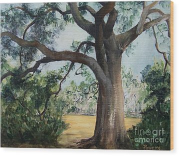 Wood Print featuring the painting Thomasville Oak by Mary Lynne Powers