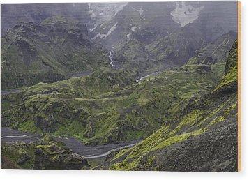 Thorsmork Toward Myrdalsjokull Wood Print