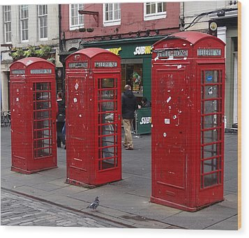Those Red Telephone Booths Wood Print